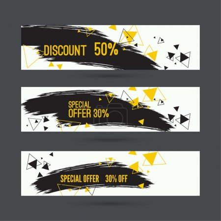 Illustration for Smear a watercolor painting. Discount goods. Special offer, best price of 50 off. black Friday. dynamic scattering triangles - Royalty Free Image
