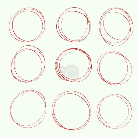 Set hand drawn ovals, felt-tip pen circles.