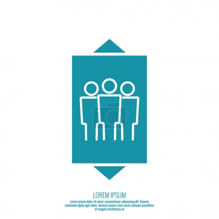 Illustration for Icon of the elevator passengers and up and down arrows vector. minimal, outline - Royalty Free Image