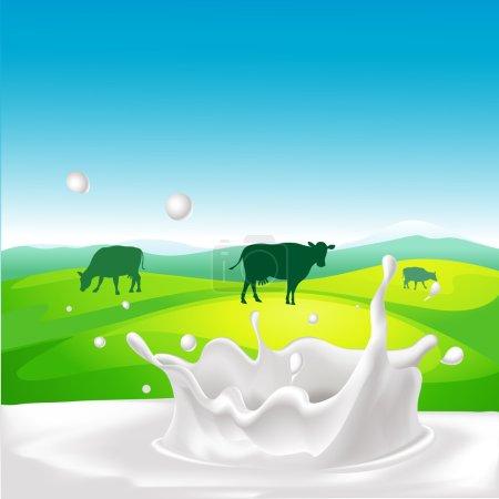 Illustration pour Conception vectorielle avec vache, éclaboussure de lait et paysage - image libre de droit