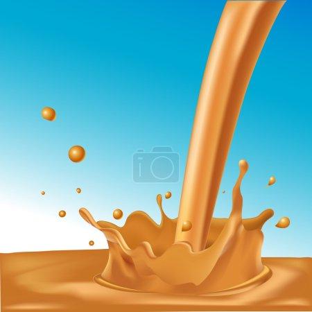 splash of hot coffee or caramel on blue background - vector illustration