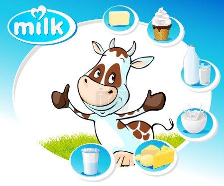 Illustration pour Design bleu avec des produits laitiers et vache drôle illustration vectorielle - image libre de droit