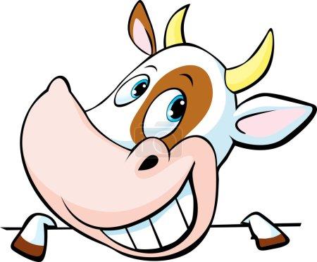 Illustration pour Drôle vache jette un coup d'oeil derrière une surface blanche illustration vectorielle de dessin animé - image libre de droit