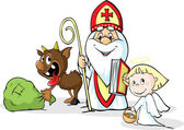 Saint Nicholas devil and angel - vector illustration isolated on white background