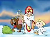 Saint Nicholas devil and angel - vector illustration  During the Christmas season they are warning and punishing bad children and give gifts to good children