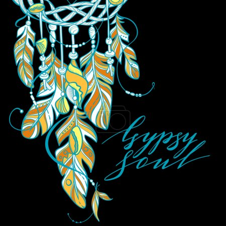 Vector Dreamcatcher Amulet of Sea Style, Native American Indian talisman with Feathers and Shells. Lettering Quote