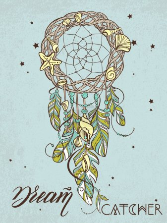 Vector Dreamcatcher Amulet of Sea Style, Native American Indian talisman with Feathers and Shells