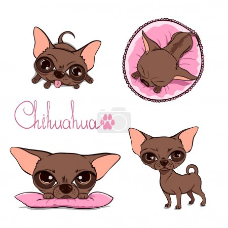 Vector Cartoon Illustration of a Cute Chihuahua