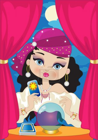Illustration for A beautiful gypsy fortune teller - Royalty Free Image