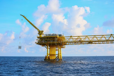 Offshore construction platform for production oil and gas, Oil and gas industry and hard work,Production platform and operation process by manual and auto function, oil and rig industry and operation
