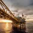Oil and gas platform in the gulf or the sea, The world energy, Offshore oil and rig construction   Bad weather in offshore oil and gas platform