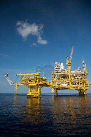 Offshore oil and gas production and exploration business. Production oil and gas plant and main construction platform in the sea. Energy business.