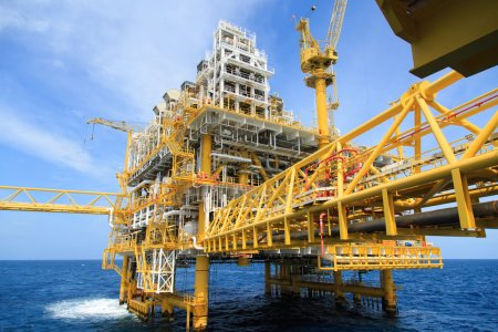 Construction platform for production energy.Oil and gas platform in the gulf or the sea, The world energy, Offshore oil and rig construction.