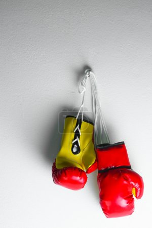 Red leather boxing gloves isolated , Boxing gloves...