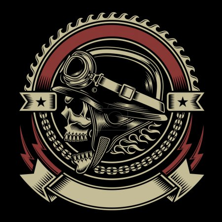 Illustration for Fully editable vector illustration biker skull emblem isolated on black background, image suitable for emblem, insignia, crest, badge, patch , tattoo or t-shirt design - Royalty Free Image