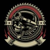 Fully editable vector illustration biker skull emblem isolated on black background image suitable for emblem insignia crest badge patch  tattoo or t-shirt design