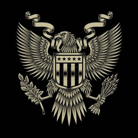Illustration for Fully editable vector illustration of american eagle emblem on black background, image suitable for emblem, insignia, badge, crest, tattoo or graphic t-shirt - Royalty Free Image