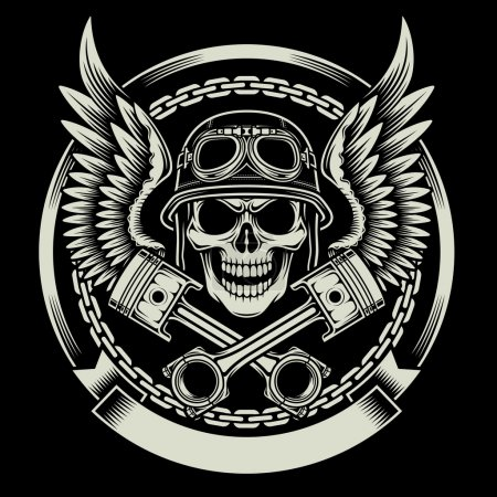 Illustration for Fully editable vector illustration of vintage biker skull with wings and pistons emblem on black background, image suitable for emblem, insignia, crest, graphic t-shirt, or tattoo - Royalty Free Image