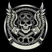 Fully editable vector illustration of vintage biker skull with wings and pistons emblem on black background image suitable for emblem insignia crest graphic t-shirt or tattoo