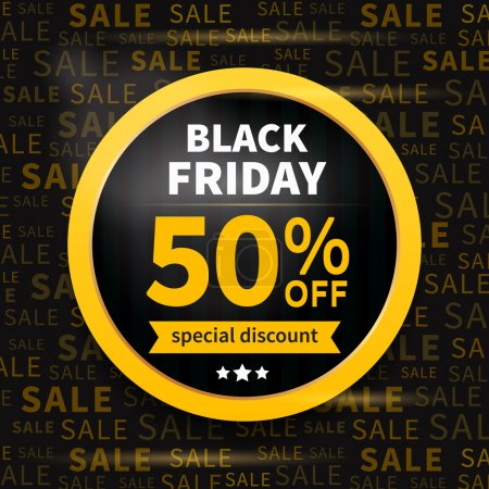 Illustration for Black friday sale label on typography background - Royalty Free Image
