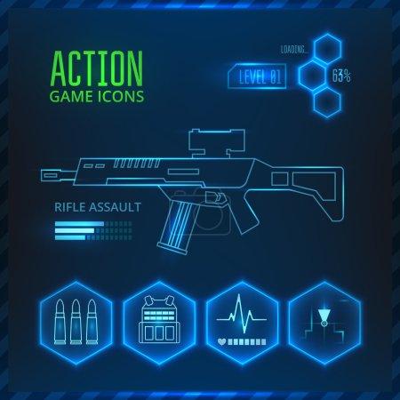 Illustration pour Ensemble d'icônes vectorielles pour un jeu dans le genre de jeu de tir ou d'action. Sur un fond bleu avec des éléments lumineux . - image libre de droit