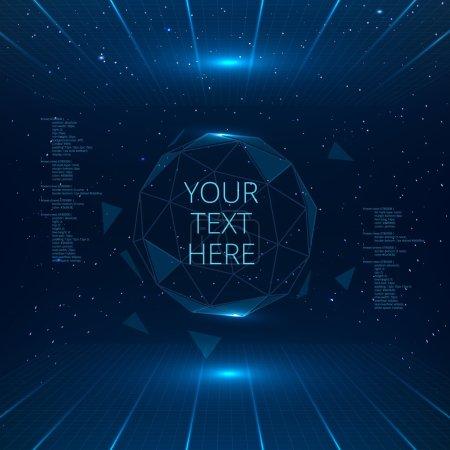 Illustration pour Interface futuriste avec sphère vectorielle avec triangles. Contexte technologique futuriste - image libre de droit