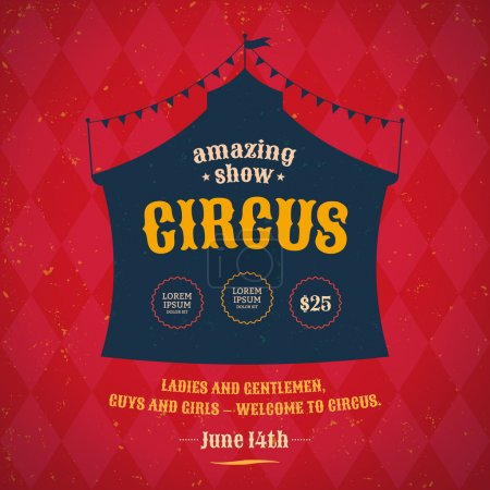 Poster for the circus. Silhouette circus tent. Vec...
