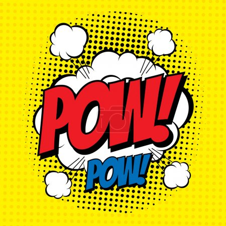 Illustration for POW. Vector poster comic strip style with halftone effect - Royalty Free Image