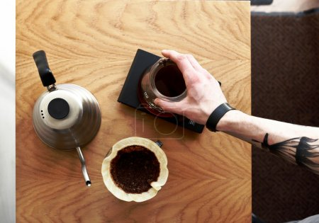 Coffee pour over top view