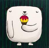 """Постер, картина, фотообои """"Картина маслом белого плюшевого мишку с мороженым"""""""