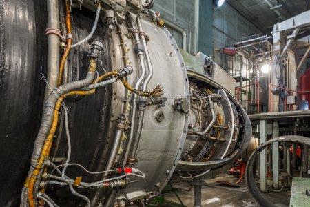 Turboshaft engine in aviation hangar