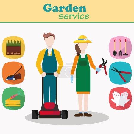 Couple of gardeners vector characters
