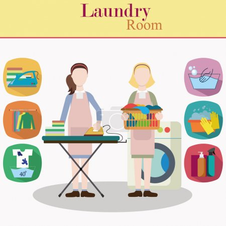 Couple of women laundry workers