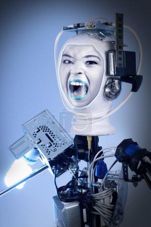 Photo pour Robot cyborg humain pour l'imagerie futuriste d'intelligence artificielle - image libre de droit