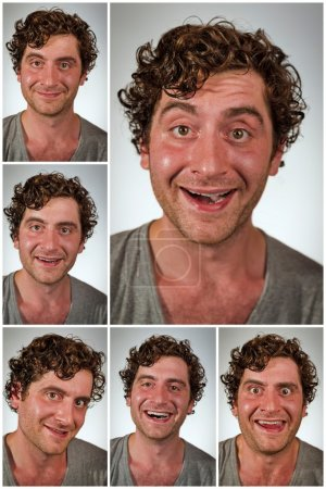 Photo for Regular average looking man making various facial expressions in collage imagery - Royalty Free Image