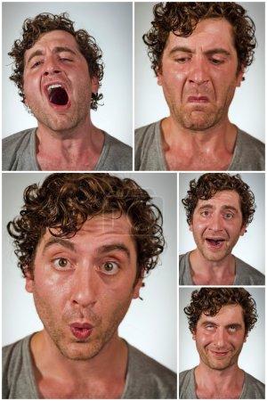 Foto de Promedio regular hombre haciendo distintas expresiones faciales en imágenes de collage - Imagen libre de derechos