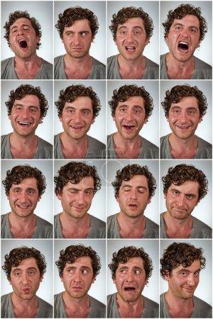 Foto de Promedio regular hombre haciendo distintas expresiones faciales en collage - Imagen libre de derechos