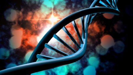 Photo for 3D DNA strand with vibrant colors for genetics background - Royalty Free Image