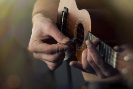 Close Up Playing Ukulele