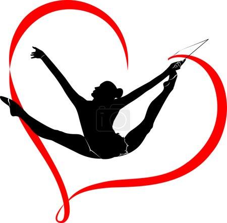 Creative silhouettes of gymnastic girls. Art gymnastics set, black and white vector illustration