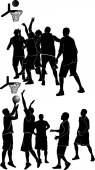 Silhouettes of team playing basketball