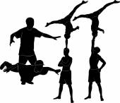 Silhouette of Gymnasts acrobats