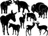 silhouettes animals  set
