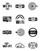 Set of twelve wifi icons