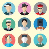 Set of Circle Icons with Man Different Professions Set - 11