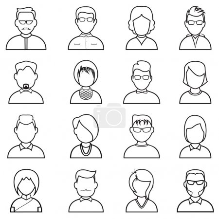 Photo pour Ligne des gens icône. Les gens décrivent silhouettes ensemble vectoriel - image libre de droit