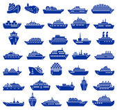 Ship and boat icon set Vector illustration