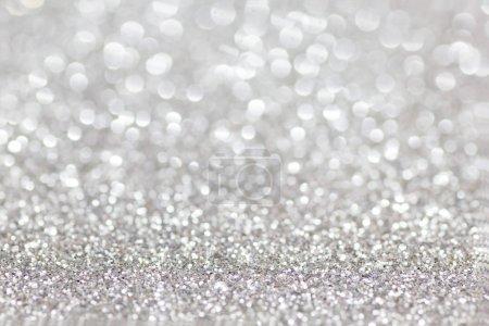 Photo pour Glitter argent pour fond de Noël avec des Lumières brouillées. - image libre de droit
