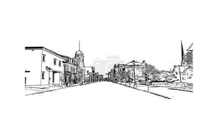Illustration pour Imprimer Vue de l'édifice avec le point de repère de Cambridge est la ville au Canada. Illustration dessinée à la main en vecteur. - image libre de droit