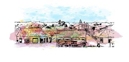 Illustration pour Imprimer Vue du bâtiment avec le point de repère de Campeche est la ville au Mexique. Aquarelle éclaboussure avec dessin à la main illustration de croquis dans le vecteur. - image libre de droit